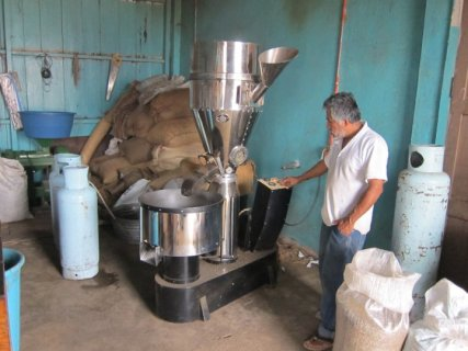 Visiting a coffee roaster in Pluma Hidalgo, Mexico