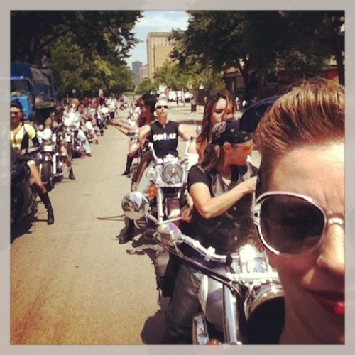The view in the rear view mirror at Chicago Pride 2013