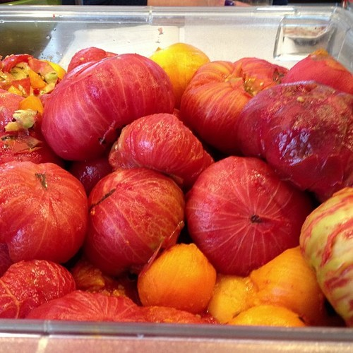 Tomatoes without their skins, waiting to be squished for sauce