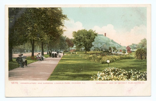 1898 Postcard image of Lincoln Park Conservatory | source: Wikimedia Commons