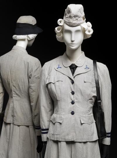 WAVES uniform for summer use, United States Naval Reserve, c. 1942 | Gift of Mrs. Myron Ratcliffe; 1992.219; Gift of Mrs. Margaret Heing Ambramson, 1987.67